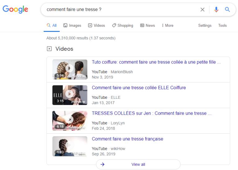 """Résultats vidéo de la recherche google """"comment faire une tresse ?"""""""